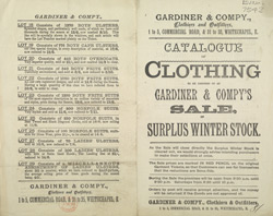 Advert For Gardiner & Company, Clothiers